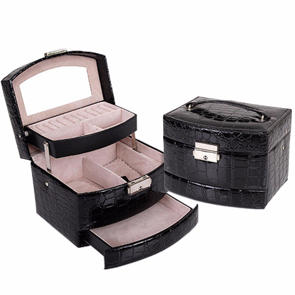 Soaptree Black Faux Leather Make Up Case 3 Layer Drawer Jewelry Box for Necklace Ring Earring Bracelet(B-3 Layers Jewelry Box)