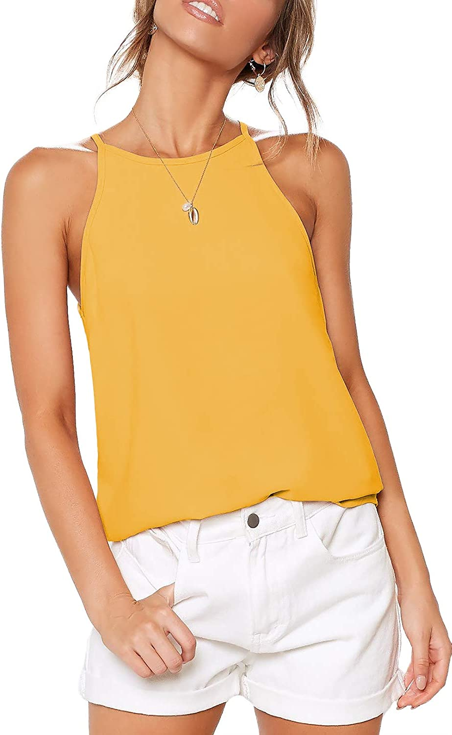 ZJCTUO Womens Tops Halterneck Racerback Summer Casual Basic Sleeveless Tee Shirts Cami Tank Tops Beach Vests Blouses