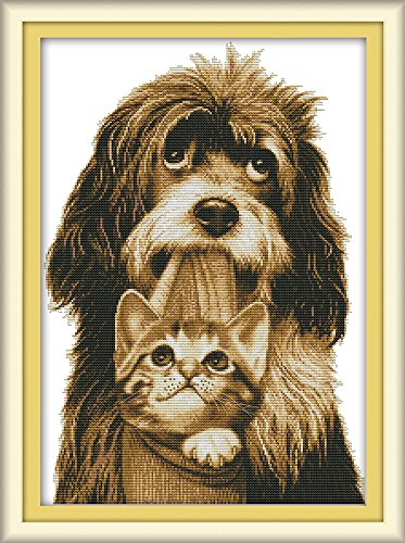 CaptainCrafts Hot New DIY Art Cross Stitch Kits Patterns Needlecrafts Counted Embroidery Kit - Dog Gently Bites The Kitten (White)