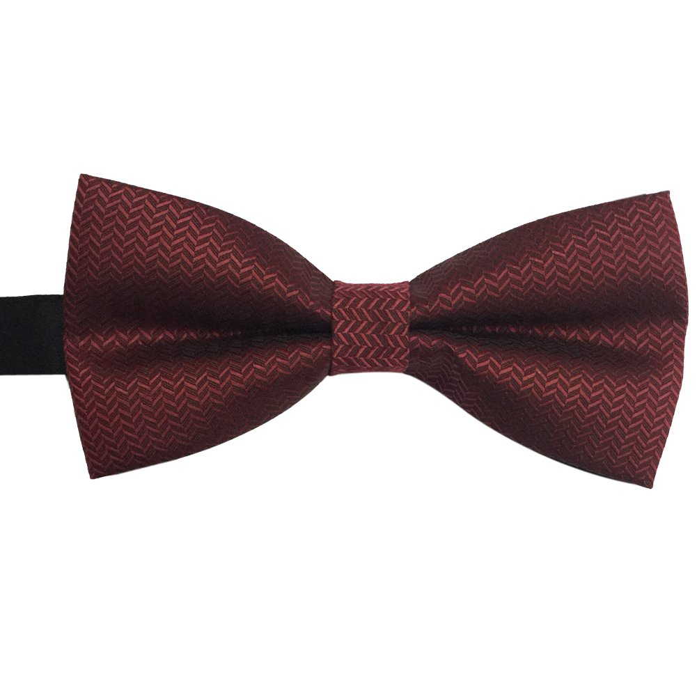 15f85f41d Mens Formal Pre-tied Striped Bow tie Burgundy bowtie (Burgundy) at Amazon Men s  Clothing store