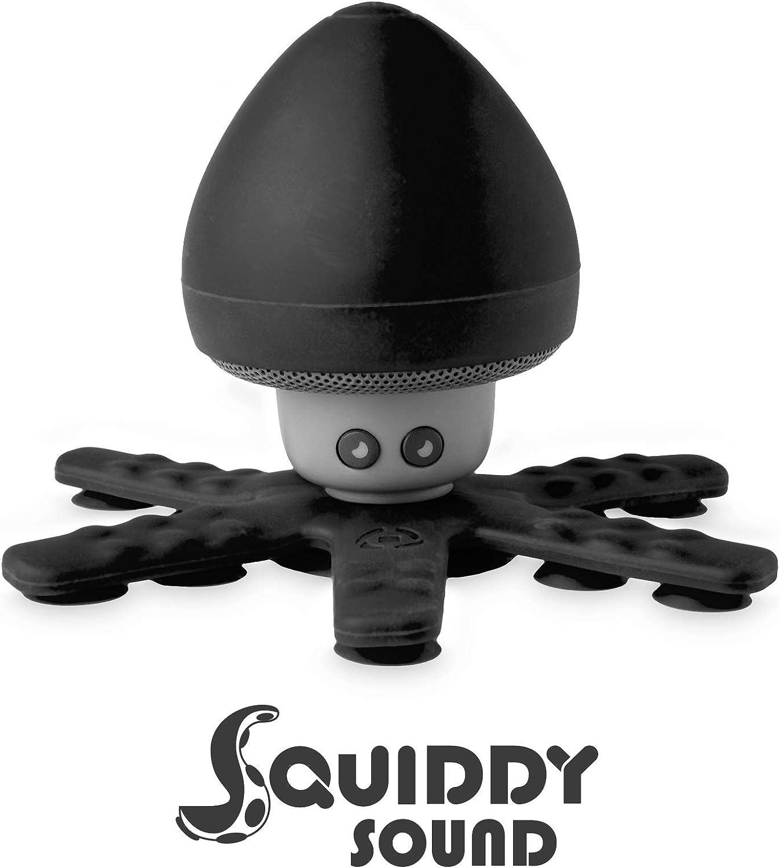 Altavoz Bluetooth Impermeable Celly Squiddy, Altavoz Inalámbrico Soporte con 6 Mini Tentáculos y Ventosas con Agarre Seguro para Ducha Piscina baño y más. Negro