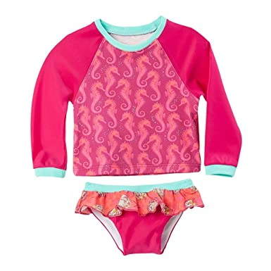 OFFCORSS Baby Rashguard Shirt Girl Long Sleeve SPF UV Sun Protection Set Swimwear Seahorses Trajes de