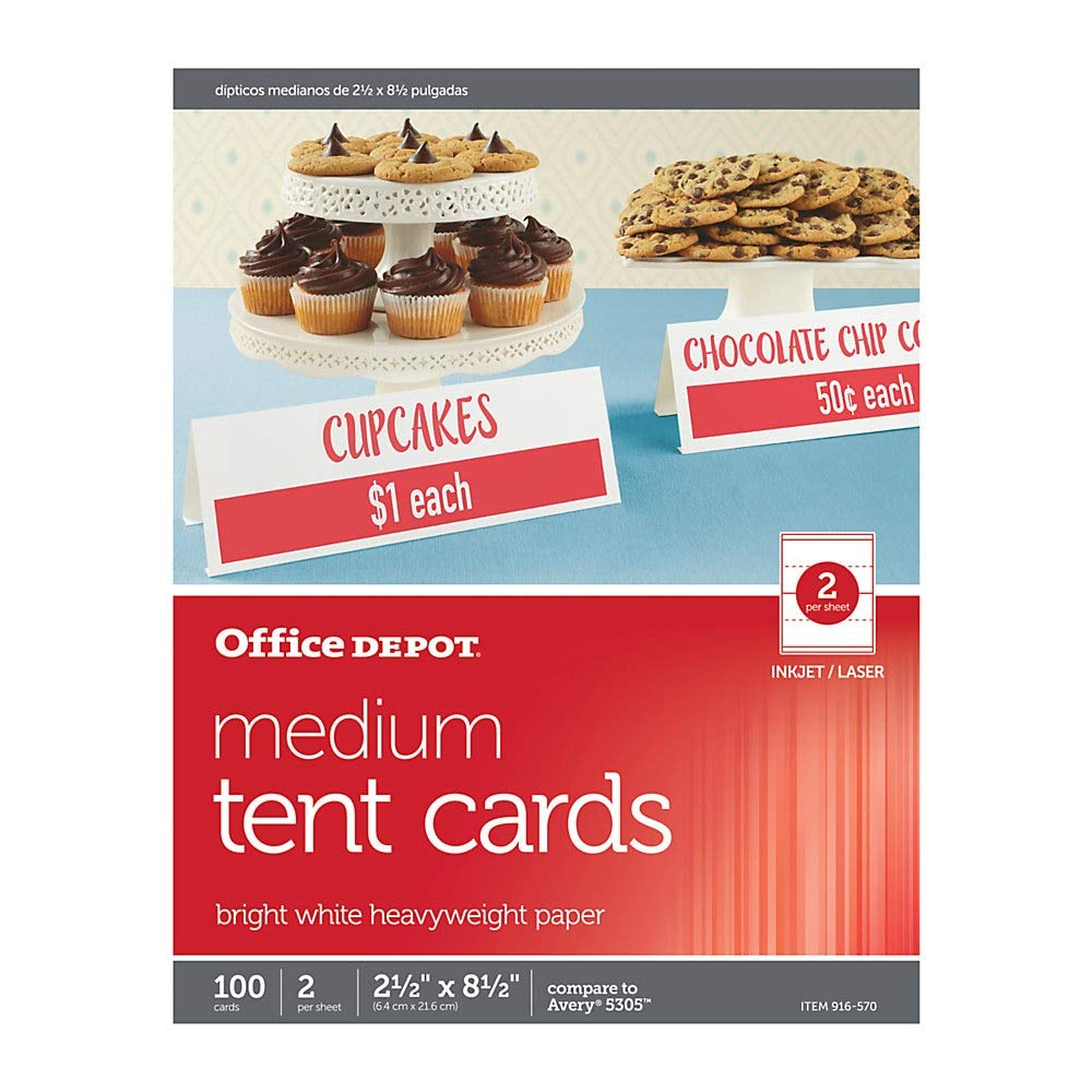Office Depot Brand Inkjet/Laser Tent Cards, Medium, 2 1/2'' x 8 1/2'', Bright White, Pack of 100 by Office Depot