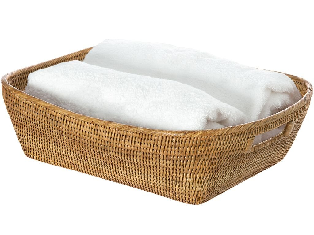 "KOUBOO 1060076 La Jolla Oblong Rattan Storage and Shelf Basket, 19"" x 15"" x 5"", Honey-Brown - 19 inches long x 15 inches wide x 5 inches high Hand Woven from rattan Finished with a coating of clear lacquer - living-room-decor, living-room, baskets-storage - 61dPkHhRSnL -"