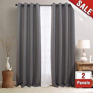 Amazoncom Jinchan Blackout Curtains For Bedroom Linen Textured