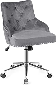 Giantex Modern Home Office Chair, Tufted Velvet Swivel Armchair with Nailhead Trim, Mid-Back Velvet Office Chair with Upholstered seat, Adjustable Task Chair Computer Desk Chair (Gray)