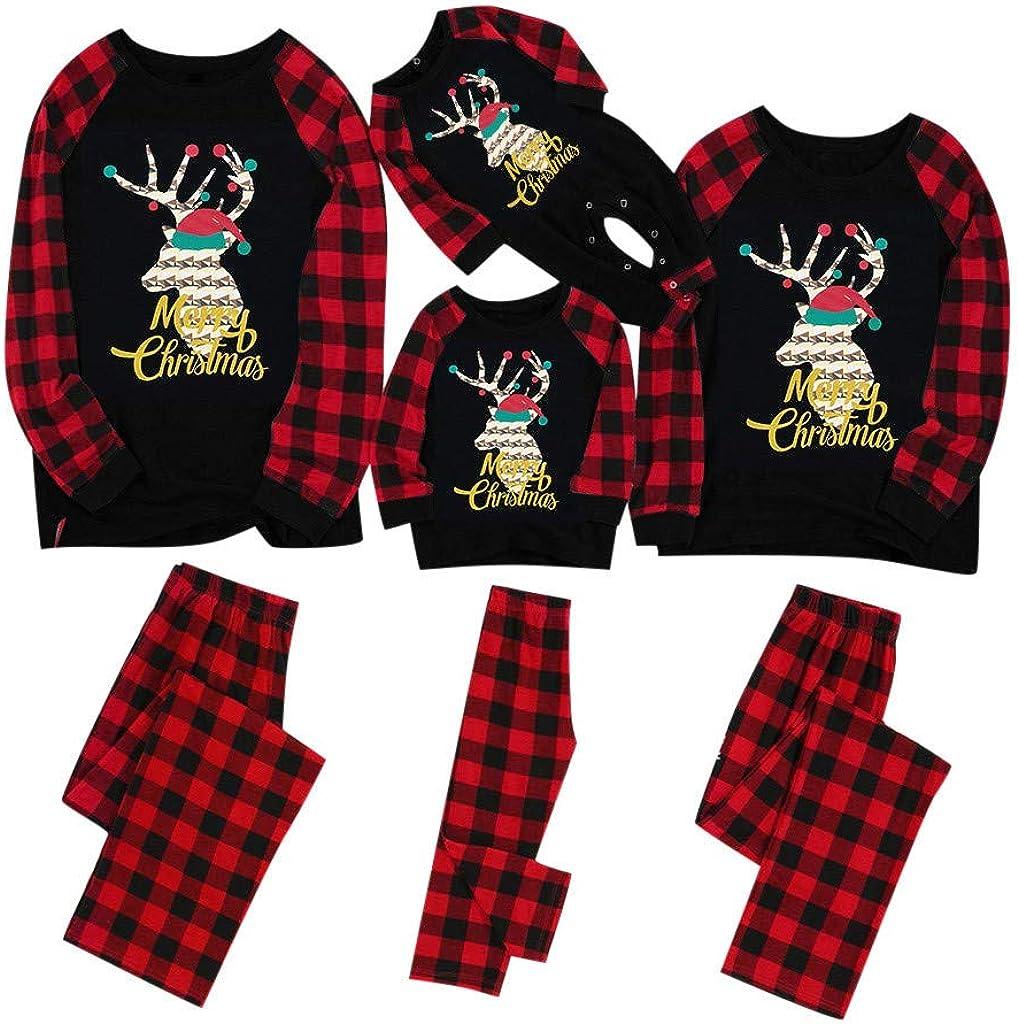 Merry Matching Pajamas Christmas Pajamas for Family Women Men Kids Baby Pjs Red Plaid Reindeer Loungewear
