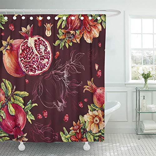 - Emvency Shower Curtain Waterproof Decorative Bathroom 72 x 78 inches Green Beautiful Pomegranate Watercolor Red Blossom Botanical Branch Bright Color Polyester Fabric Set with Hooks