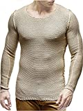 Pxmoda Men's Long Sleeve Baggy Solid Knit Hipster Hip Hop Sweaters Pullovers (M,Beige)