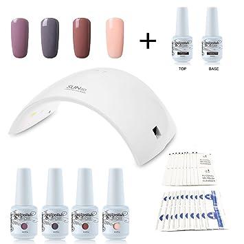 Vishine Nail Starter Kit 4 Colours Soak Off Gel Polish \u0026 Top Base Coat, 36W  Professional LED Gel Lamp, Remover \u0026 Cleanser Manicure Nail Art Tool C016