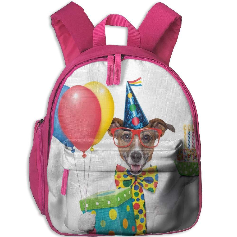 Haixia 学生 ボーイズ&ガールズ スクールバックパック ポケット付き 誕生日デコレーション キッズ用 ウェイターサーバー パーティー 犬 帽子付き コーン カップケーキ バルーンボックス One Size ピンク B07GYJ7183