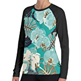 Tailing Colorful Orchid Women's Casual Crew-Neck Long Sleeve Tee