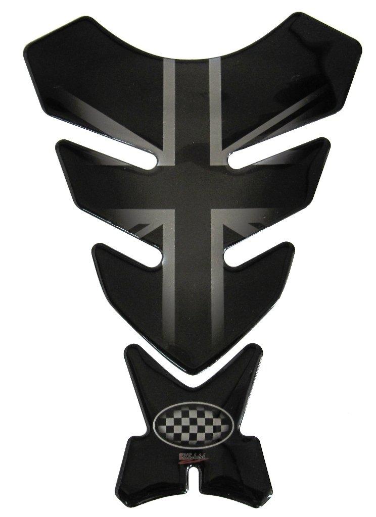 R1200GS 3d –  500720 –  Unió n Jack Silver/Inglaterra Bandera/Racing/plata look con Negro –  Universal para Yamaha, Honda, DUCATI, SUZUKI, KAWASAKI, KTM, BMW, Triumph y Aprilia depó sitos