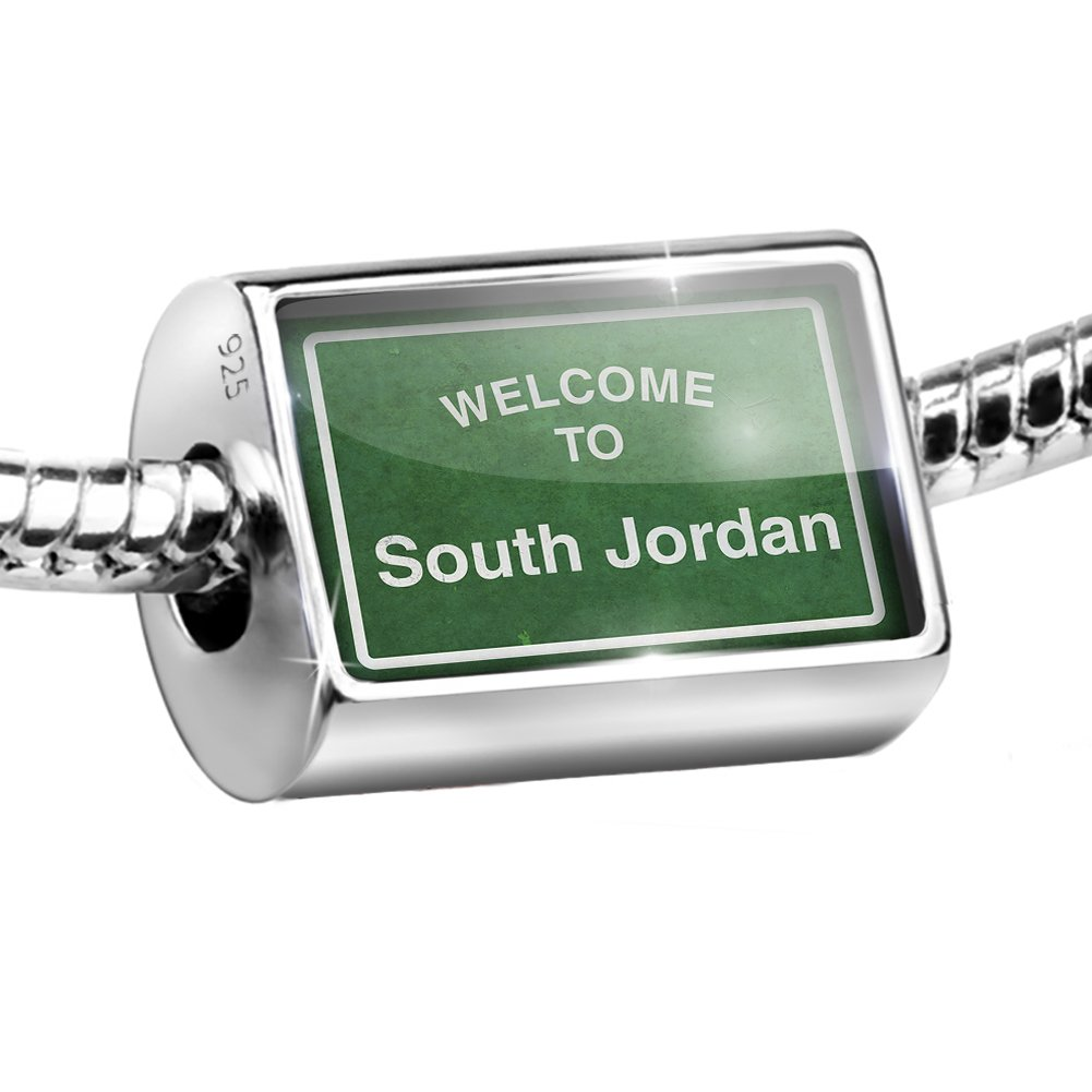 Sterling Silver Bead Green Road Sign Welcome To South Jordan Charm Fits All European Bracelets