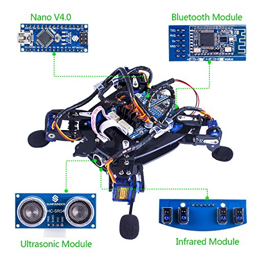 SunFounder Rollflash Bionic Robot Turtle with APP Control for Arduino Nano HC-SR04 Ultrasonic IR Infrared Obstacle Avoidance Sensor Bluetooth (Robot Turtles Board Game)