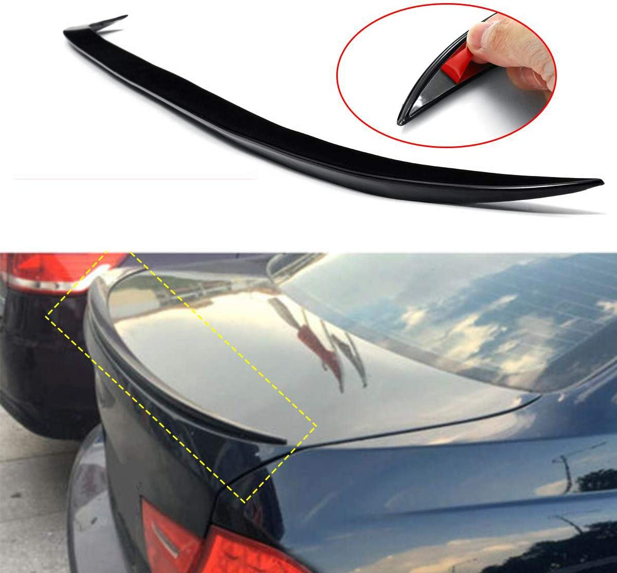 Black Saloon Rear Boot Lip Spoiler Tail Wing M3 Style for BMW 3 Series E90 4 Door 2005-12 Rear Roof Spoiler Trunk Lip