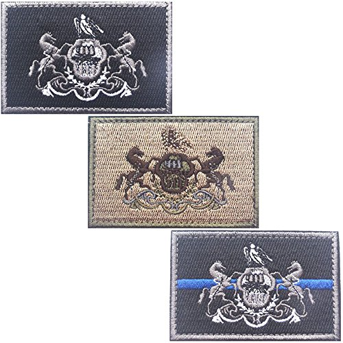 Bundle 3 Pieces - Tactical USA State Flag Patches - Multi-colored (3X2, PA)