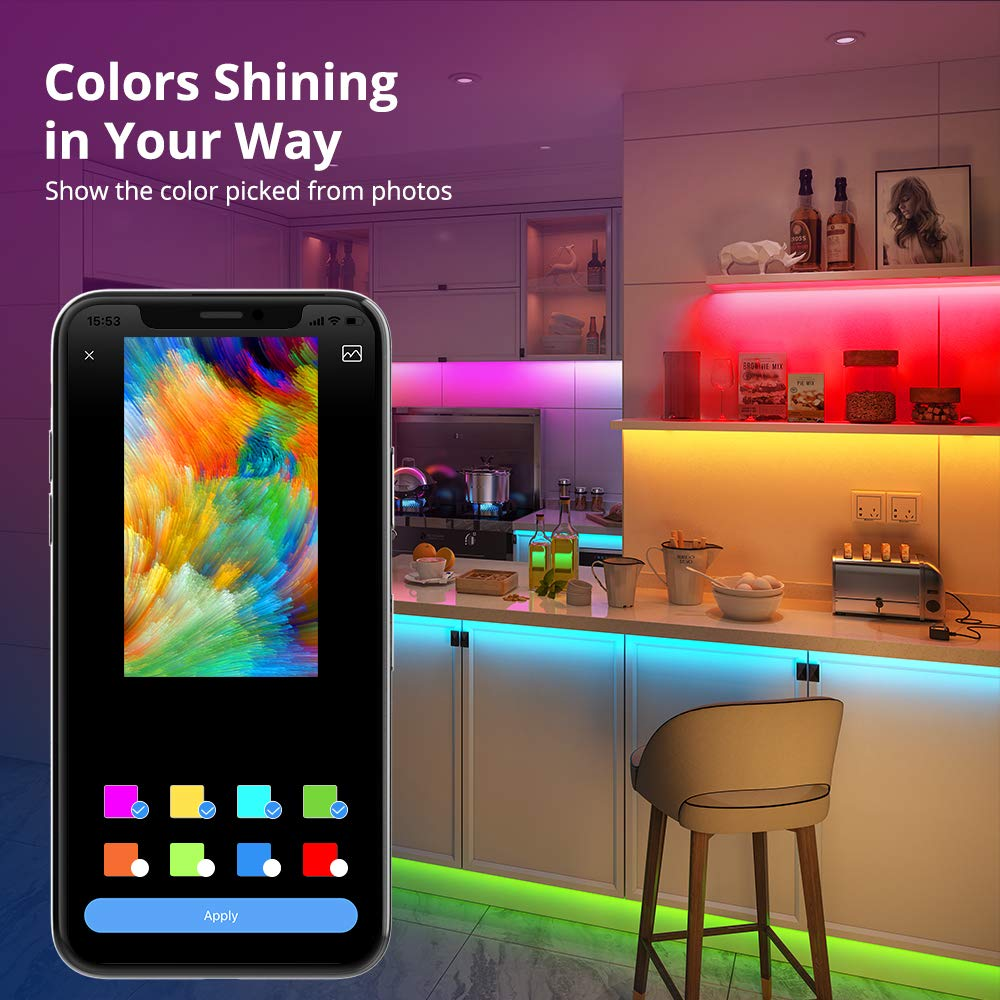 Party Govee Multicolor 16.4ft APP Control Bluetooth LED Light Strip Kitchen Christmas LED Strip Lights Color Picking and Segmented Control Music Sync Color Changing LED Lights for Room