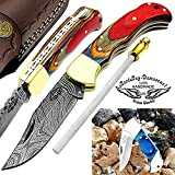 "Multi Wood 6.5"" Handmade Damascus Steel Brass Bloster Back Lock Folding Pocket Knife Sharpening Rod 100% Prime Quality Plus Beautiful Blue Wood Stainless Steel Pocket knive ""LIMITED OFFER"""
