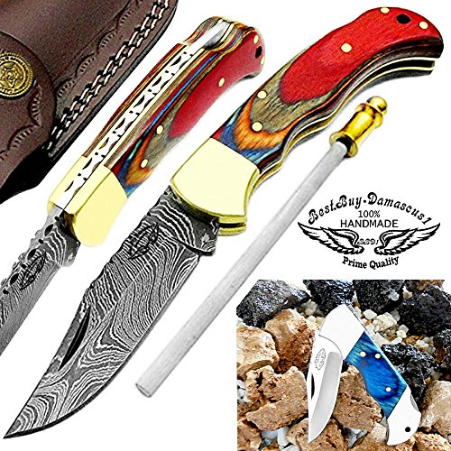 Multi Wood 6.5'' Handmade Damascus Steel Brass Bloster Back Lock Folding Pocket Knife Sharpening Rod 100% Prime Quality Plus Beautiful Blue Wood Stainless Steel Pocket knive
