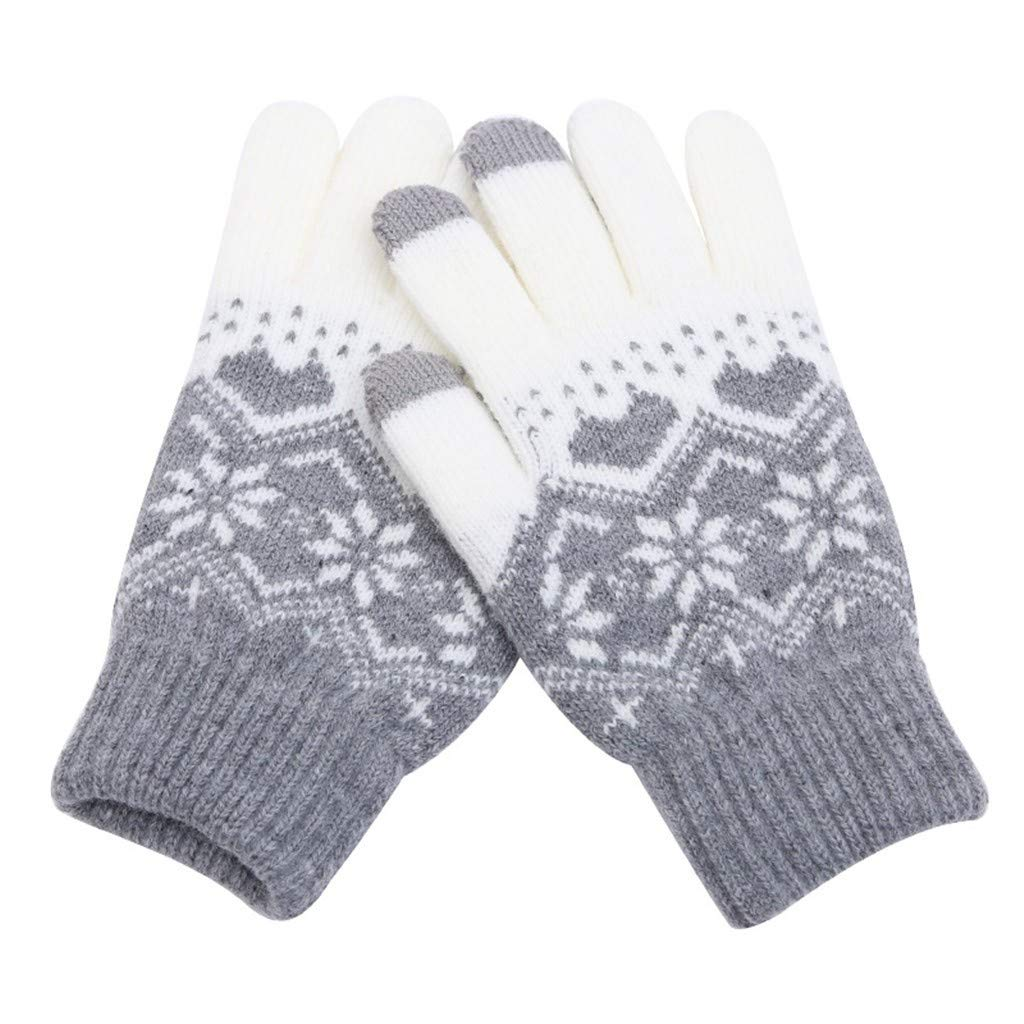 BingYELH Men Women Christmas Thick Knit Gloves Touch Screen Gloves Winter Snowflakes Knitted Warm Glove 2018