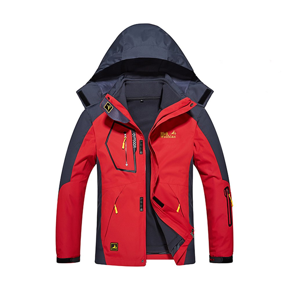 Chusanhi Men's Windproof Waterproof Ski Jackets Winter Snowboard 3-in-1 Snow Jacket PL1201M