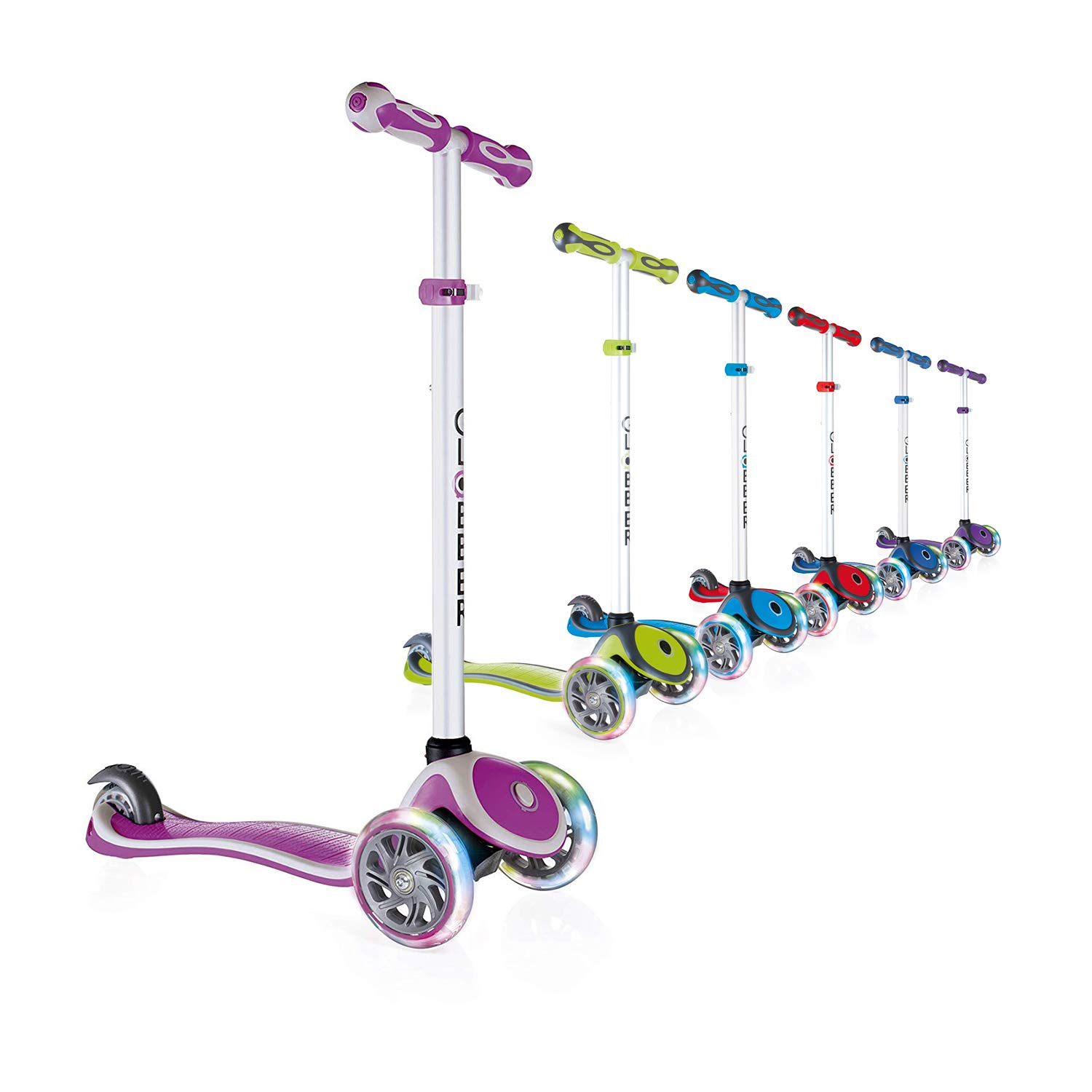 Globber V2 3-Wheel 4 Adjustable Height Scooter W/ Flashing Lights Zero Assembly Patented Steering Lock Great for Kids Toddlers Girls Boys Reinforced Body Supports Up to 110lbs by Globber
