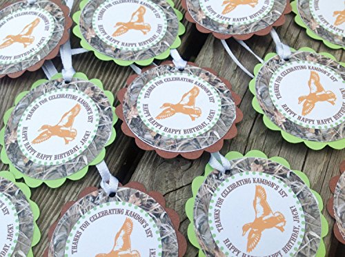 12 - Favor Tags - Duck Dynasty Inspired Happy Birthday Collection - Max 4 Camo Background & Lime Green, Orange and Brown Accents - Party Packs Available