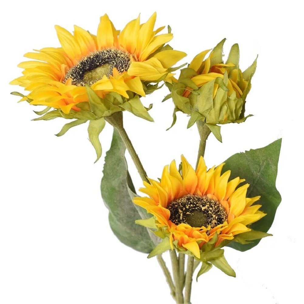 Htmeing Artificial Sunflowers Silk Flowers Fake Branches Decorative Plants Stems for Home Office Shop Decor (1pcs) WGPPBB