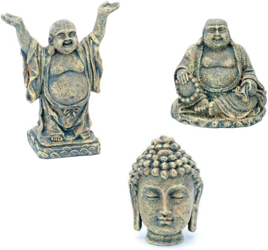 Penn-Plax Aquarium Ornaments Mini Buddha Collection (Sit, Stand, Head)~3pk