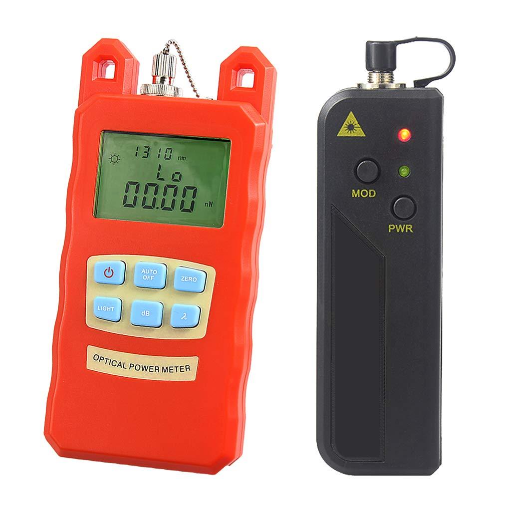 Baosity Portable Optical Fiber Power Meter Tester Measure -70dBm~+10dBm and 30mW 10-30KM Visual Fault Locator Fiber Tester Detector Meter