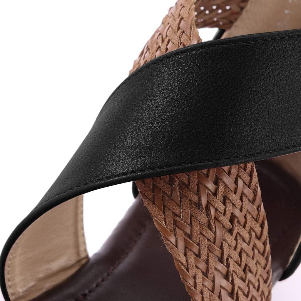Dasuy Womens Weave Platform Sandal Low Wedge Zipper Closure Open Toe Slide Sandal Summer Flat Beach Shoes