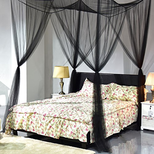 (4 Corner Bed Mosquito Net Bed Netting Canopy Insect Queen King Bedding Post Dome Full Size Princess Curtain Corner Agfabric Bug Black)