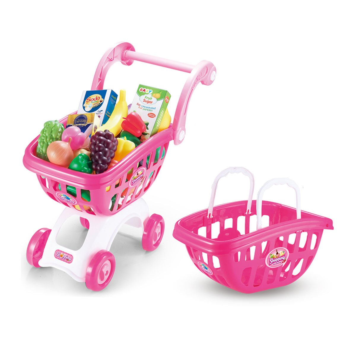 Night Lions Tech(TM) Shopping Cart with Full Grocery Food Toy Playset for Kids
