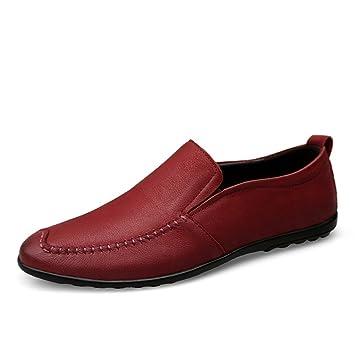 Jiuyue-shoes Mocasines de conducción de Suela Wave para Hombre, Mocasines de Cuero Genuino