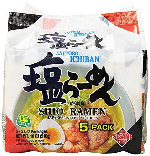 Sapporo Ichiban Shio Ramen Noodles, 5 Count, 3.6 Ounce - Ichiban Ramen