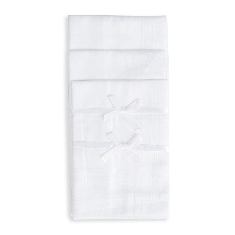 EcoHanky 100% Cotton Men's Handkerchiefs with Hem White 6 Pieces
