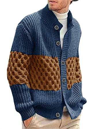 Mens V-Neck Knitted Sweater Coat Outwear Cardigan Jacket Pullover Top Sweatshirt