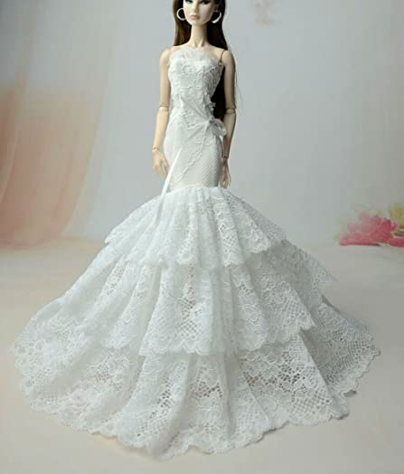 Beautiful Fashion Clothes Dress For Doll Princess Wedding Gown Lace Floral Dresses