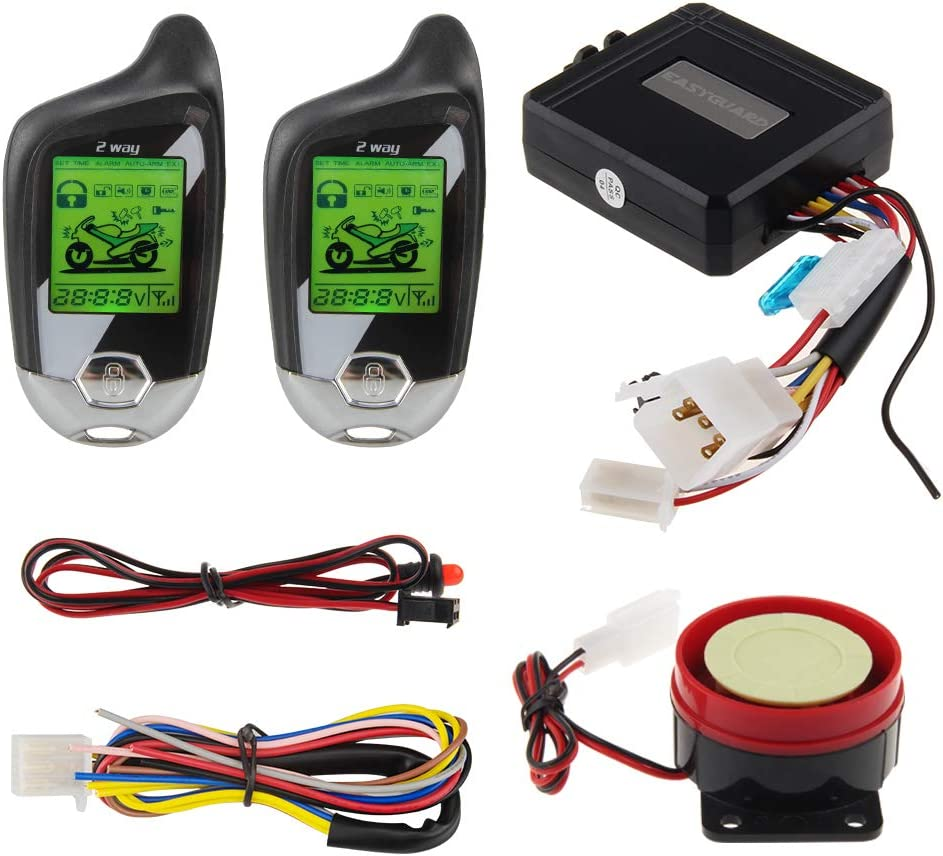 ultrasonic Sensor /& Shock Sensor DC12V EASYGUARD 2 Way car Alarm System EC203 with LCD Pager Display