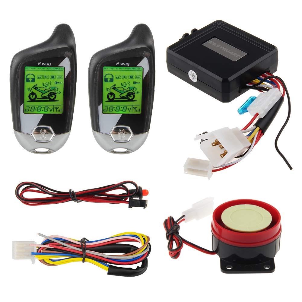 EASYGUARD EM211 2 Way Motorcycle Alarm System with Remote Start Starter Shock Sensor tilt Motion Sensor DC12V LCD Display