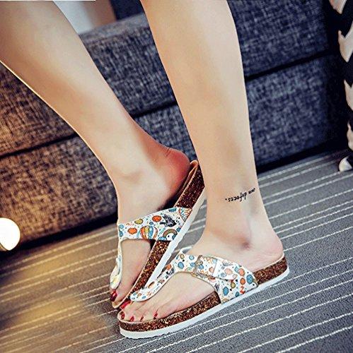 ZKOO Mujeres Multicolor Impresión Sandalias Vendaje Punta Abierta andalias de Dedo Verano Zapatillas de Playa Con Ajustable Hebilla Como la imagen4