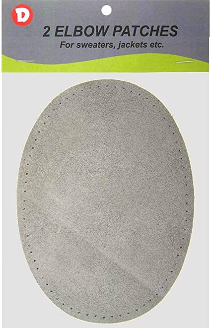 2 Large Sew-On Natural Suede Elbow Patches 4.75 in x 6.5 in Grey