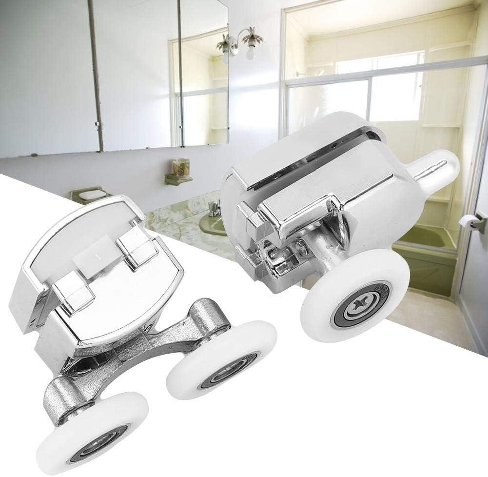 AMONIDA 2PCS Plastic Electroplating Wheel Sliding Roller Furniture Sliding Door Roller Assembly Track Door Bathroom Glass Door