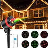SKONYON Christmas Laser Lights Show Red and Green Star IP65 Waterproof Outdoor Laser Light Projector Lightswith Remote for Christmas, Holiday, Party, Landscape, and Garden Outdoor Decorations