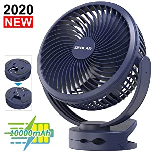 10000mAh Battery Operated Clip On Fan with Hanging Hook, Super Strong Airflow, 4 Speeds, Sturdy Clamp, Timer, Portable Camping Fan for Desktop Tent Treadmill Golf Cart Hurricane, Last 40 hrs, 7 Inch
