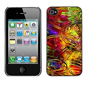 Be Good Phone Accessory // Dura Cáscara cubierta Protectora Caso Carcasa Funda de Protección para Apple Iphone 4 / 4S // Crazy Random Art Colorful Lines Pain Brush