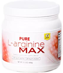 Pure Max Nutrition L-arginine MAX Cardio Support Supplement - 6000mg of L-arginine & 1200mg of L-citrulline, 45 Servings per Bottle (21.2 oz)