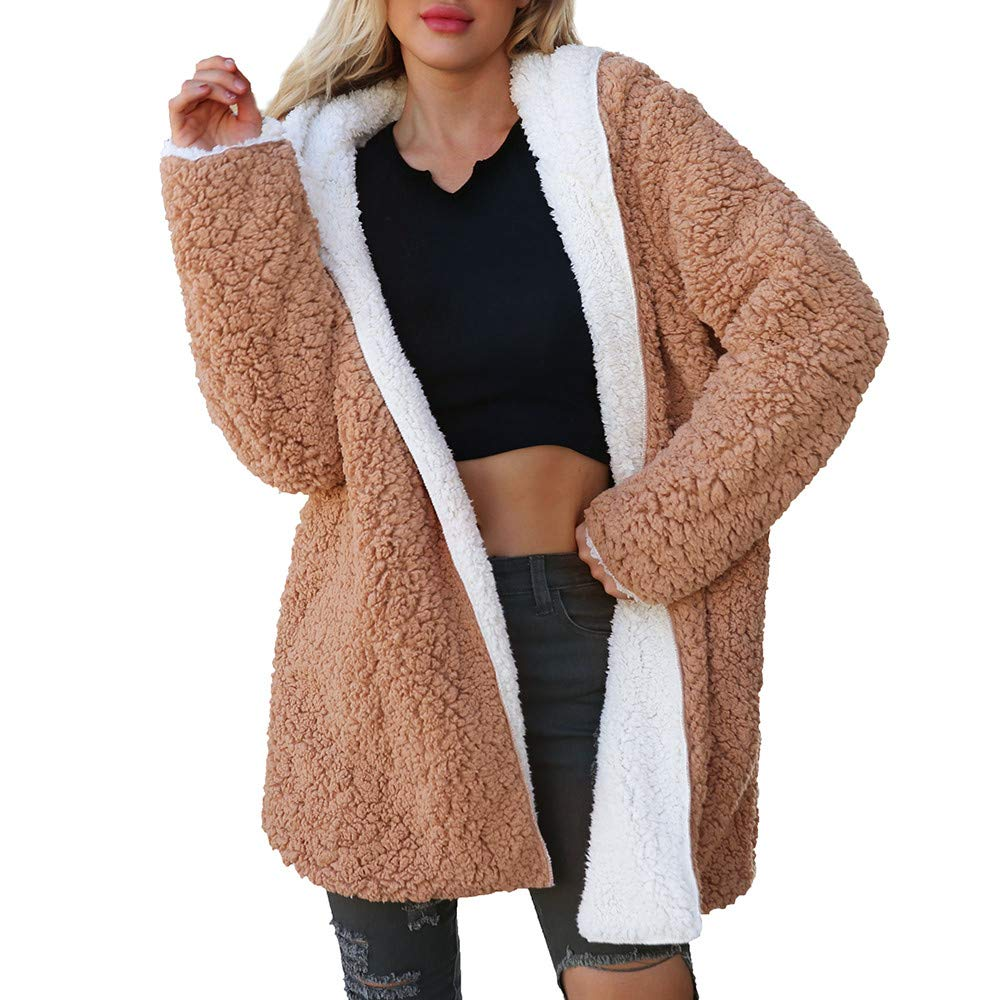 Amazon.com: Leoy88 Womens Faux Wool Lambskin Solid Color ...