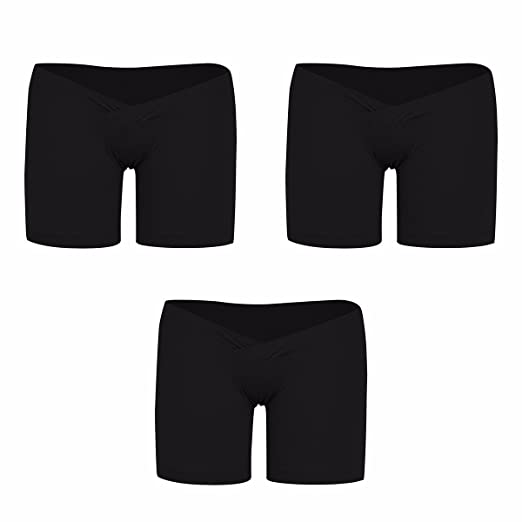0a06078a38102 FEESHOW 3 Pack Women's Under The Bump Maternity Panties Pregnancy Underwear  Healthy Boyshort Black Medium at Amazon Women's Clothing store: